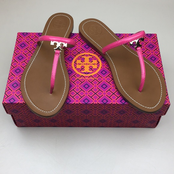 464a49ed4 TORY BURCH Pink T Logo Leather Sandals NEW